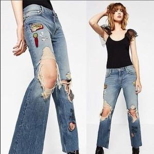 Zara LOONYTUNES cropped jeans ripped